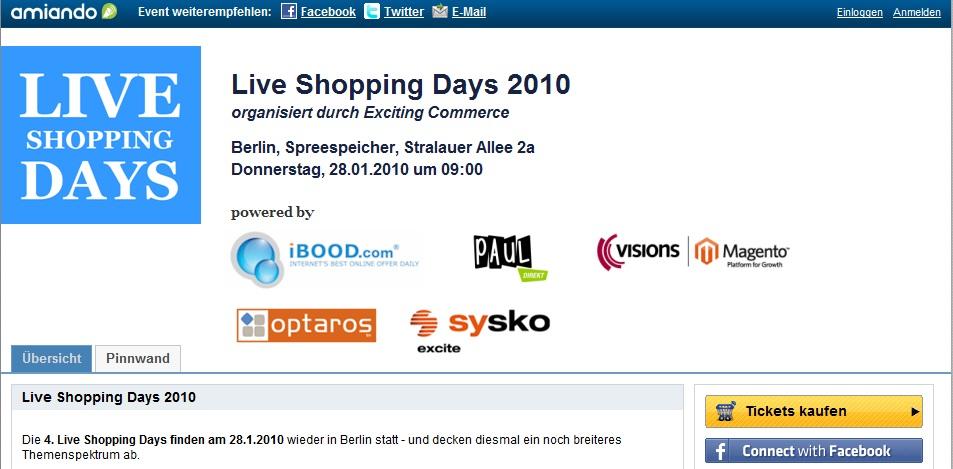 Live Shopping Days 2010 Programm