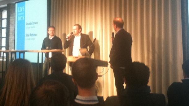 Stefan Worthmann (InsertAgent), Alexander-Schwinn (Paketplus) und Jochen Krisch (Moderator) im Gespräch (v.l.)