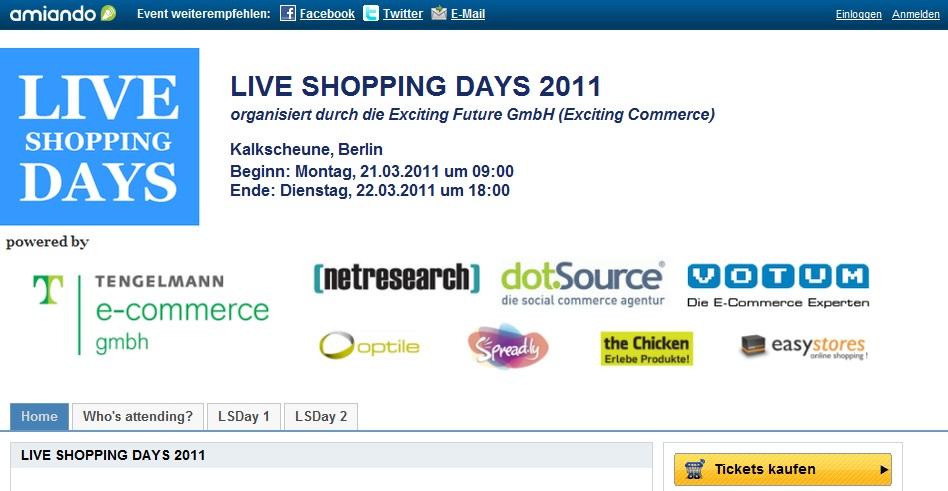 Live Shopping Days 2011 Programm
